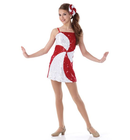 Peppermint twist christmas sequin tap dress holiday dance