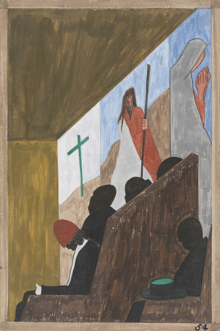 Jacob Lawrence: One of the main forms of social and recreational activities in which the migrants indulged occurred in the church (1940-41)