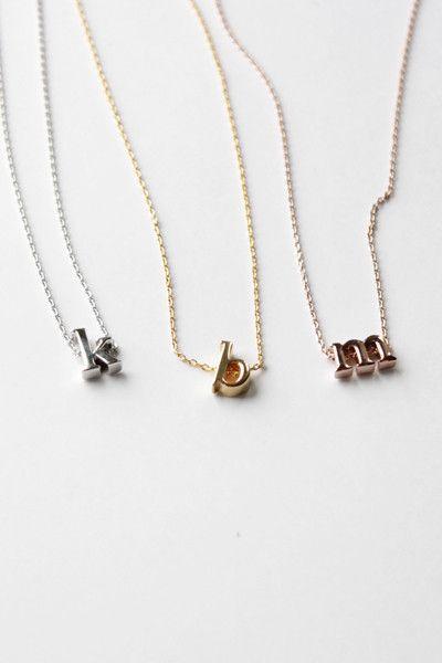 Initials Necklace Color -14k Gold Letter - s $14.95