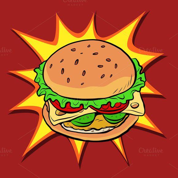 Burger fast food retro pop art by rogistok on @creativework247