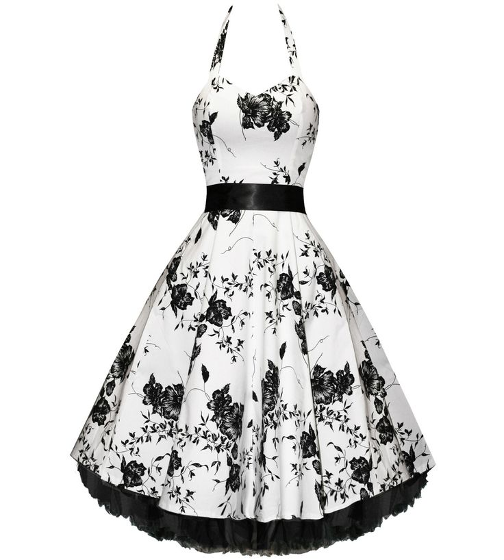 Modern Grease Clothing and Accessories Co. - White Black Floral Halter Dress , $49.99 (http://www.moderngrease.com/hearts-and-roses-london-50s-white-black-floral-cocktail-halter-dress/womens/)
