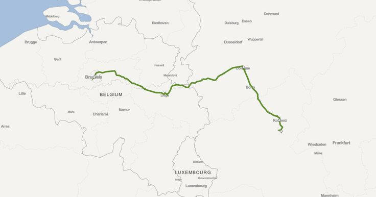 Compare several travel options from Brussels Central Station to Kamp-Bornhofen; Belgian Railways (NMBS/SNCB) Train (4½ hours, 65€) or DB Bus bus and ferry and bus (6½ hours, 74€) or Belgian Railways (NMBS/SNCB) bus and Train (7½ hours, 72€) or drive (3½ hours, 54€) or fly and Train (5¾ hours, 184€).