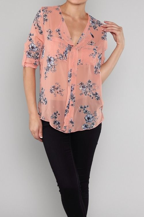 #Coral #Blue #Poppy #Chiffon #Blouse