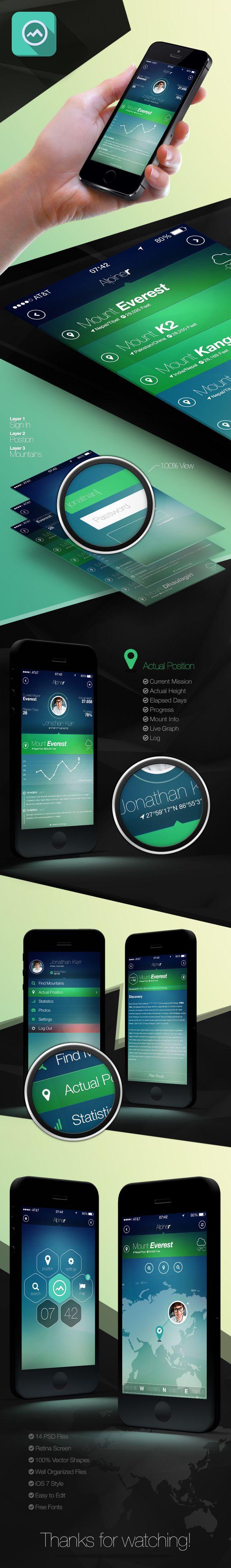 Alpiner - iPhone 5 Retina App Design