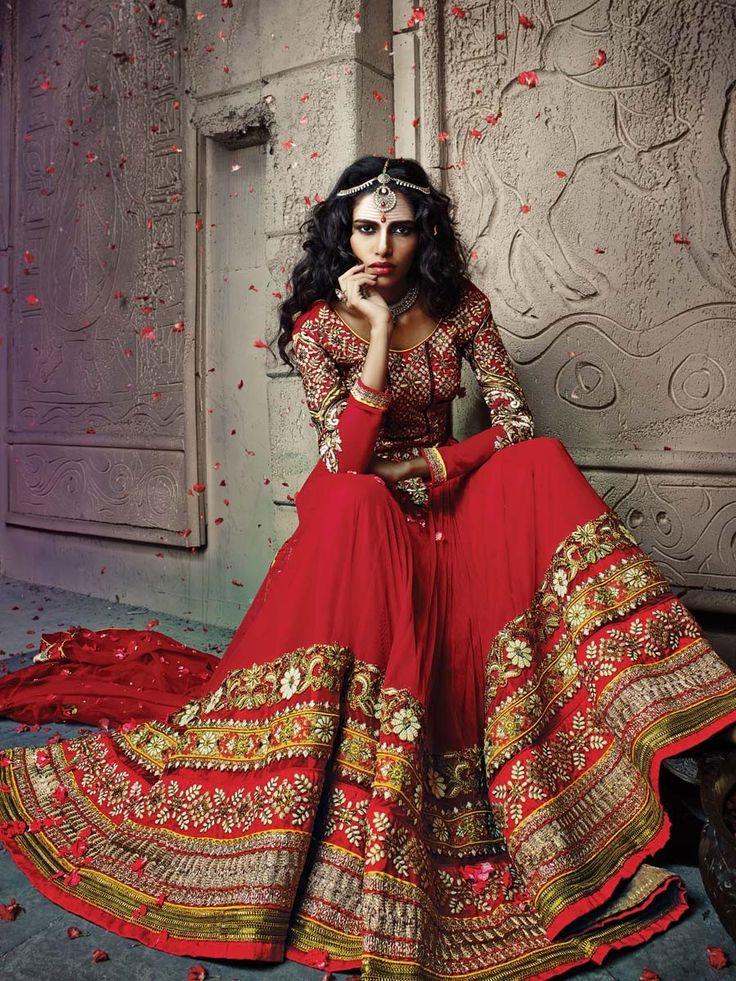 Beauteous look red color net Lehenga. Item Code: GNYA508 http://www.bharatplaza.com/women/lehengas.html
