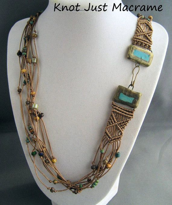 Multi Strand Beaded Macrame Necklace with by KnotJustMacrame, $59.99