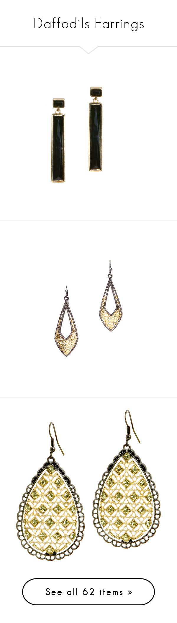 """Daffodils Earrings"" by styleforall ❤ liked on Polyvore featuring jewelry, earrings, geometric drop earrings, geometric jewelry, long earrings, earring jewelry, drop earrings, fish hook jewelry, fish hook earrings and party jewelry"