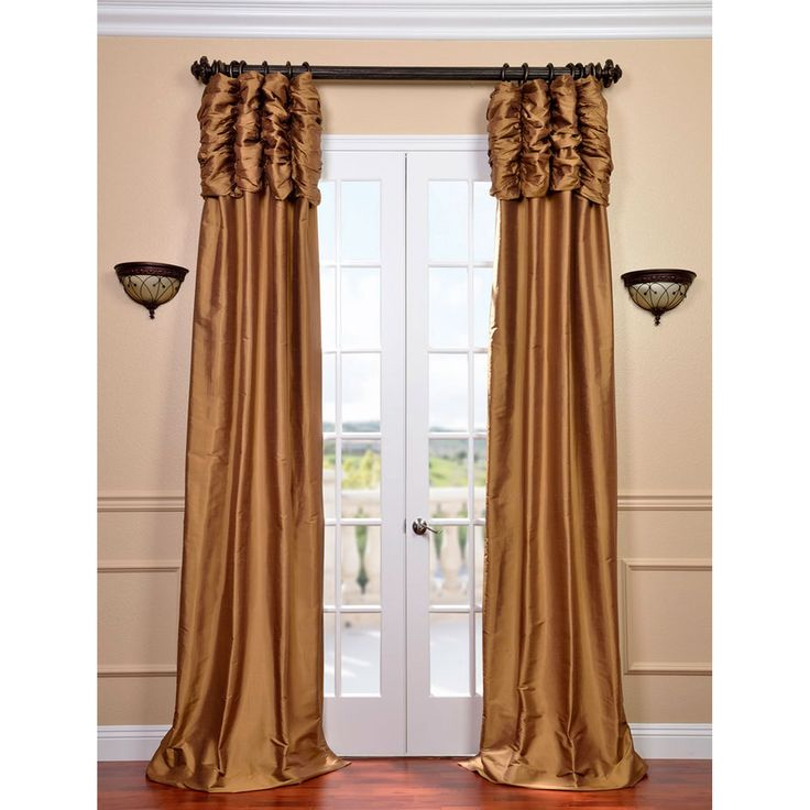 Exclusive Fabrics & Furnishings Ruched Brown Gold 84 X 50 Inch Thai Silk Curtain Single Panel Ss Sbn11 84 Ru