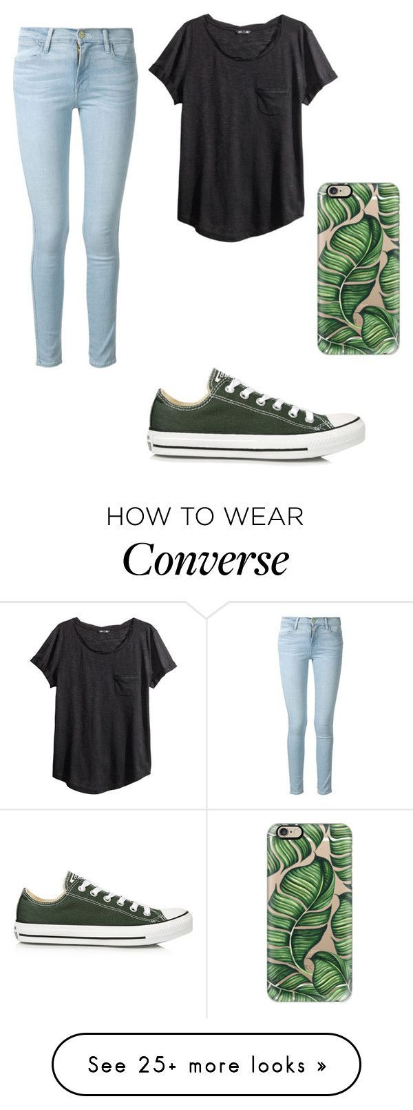 Polyvore featuring Converse, Frame Denim, Casetify and H&M