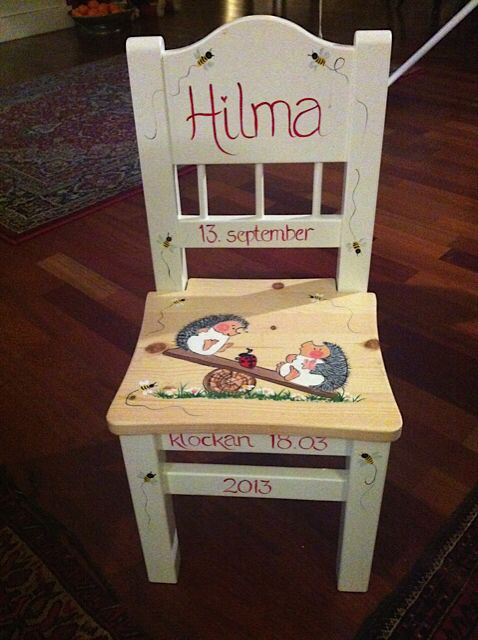 maleglede - Jeg er bedt om å legge ut noen av barnestolene jeg maler . Stolene er supre gaver til barnedåp, fødselsdager og jul.