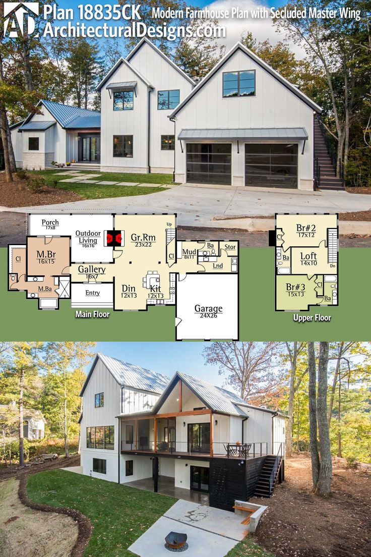 Architectural Designs Modern Farmhouse Plan 18835CK Has 3 Beds And 4 Baths  And Over 2,700 Square