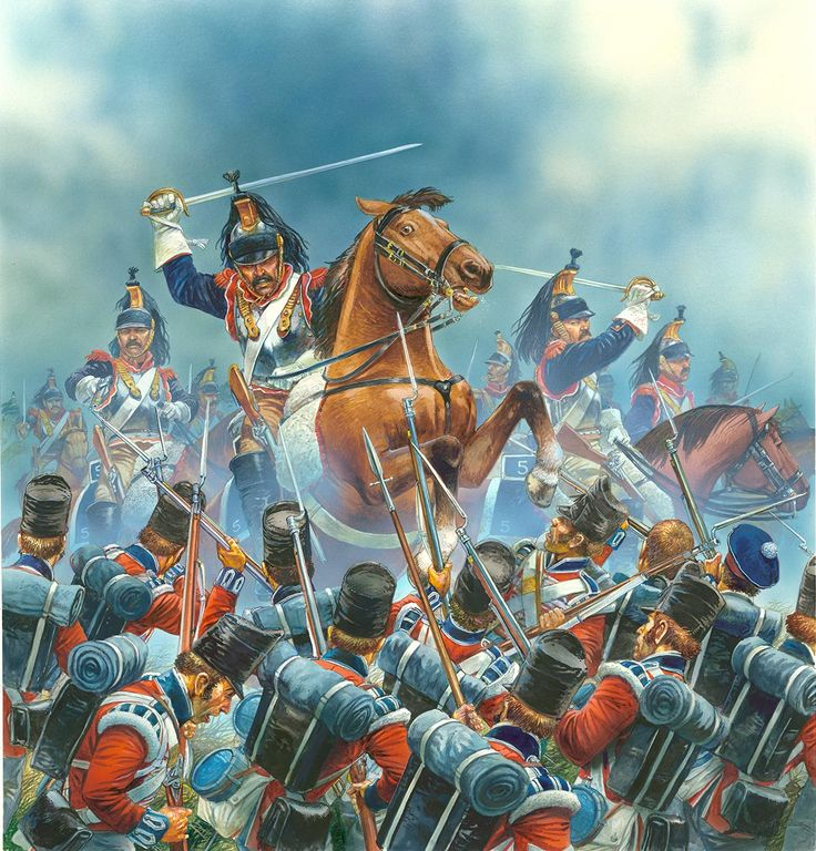 British infantry receiving the charge of the French cuirassiers, Battle of Waterloo- by Peter Dennis
