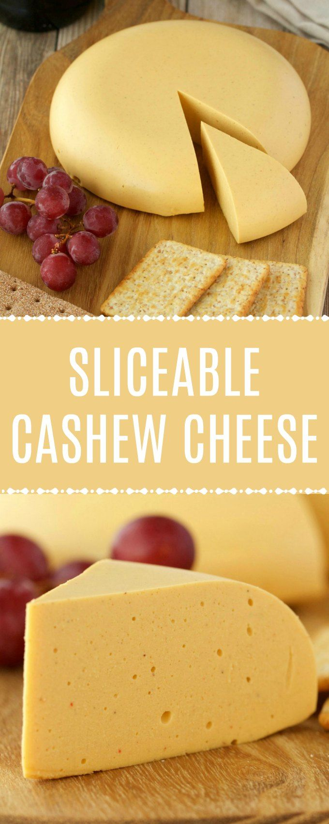 Vegan cashew cheese that is sliceable and perfect for a vegan cheese board! It's delicious on crackers and you can slice it into perfect slices and you can mash it up on a cracker if you like. Full flavored, authentic looking and quick and easy to make too! #vegan #lovingitvegan #vegancheese #cashewcheese #dairyfree #glutenfree | lovingitvegan.com