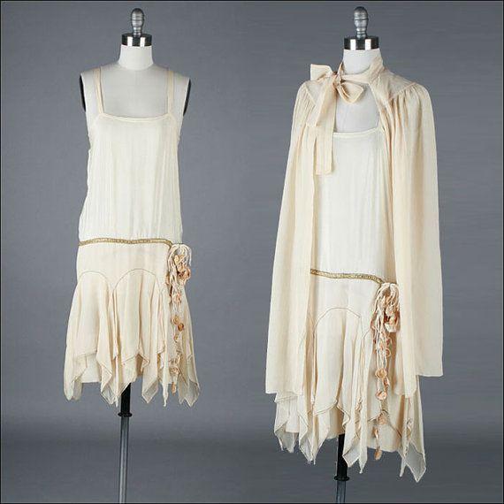 vintage 1920s dress . silk crepe . flapper dress . cape (1)