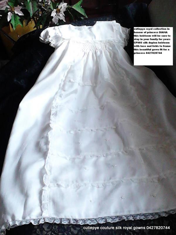 cutiepye silk heirloom gown $350 with hat and bib 0427820744
