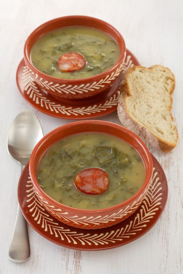Soup Recipe: Caldo Verde, I substitute the chorizo for the kielbasa and the collard greens for kale.