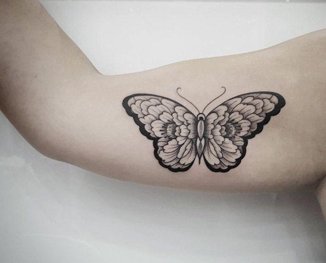 Blackwork Butterfly Tattoo by Benjamin Doukakis