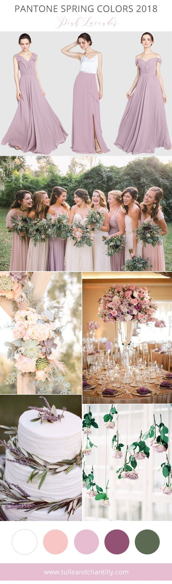 pantone pink lavender spring wedding colors 2018 with bridesmaid dresses