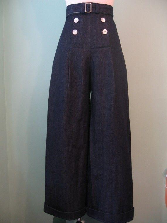 1930s 1940s vintage style sailor dark color denim pants with belt custom made