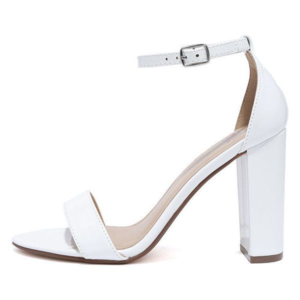 All Dressed Up White Patent Ankle Strap Heels ($22) ❤ liked on Polyvore featuring shoes, pumps, white, fancy shoes, block heel pumps, dressy shoes, white patent pumps and ankle wrap pumps