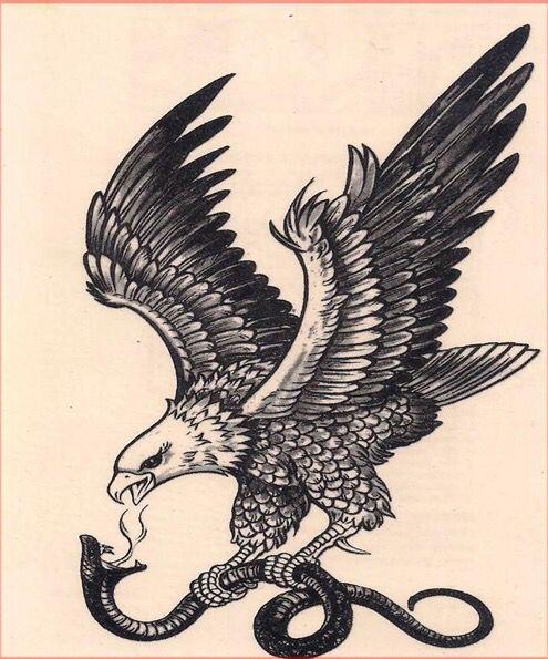 Vintage eagle and snake