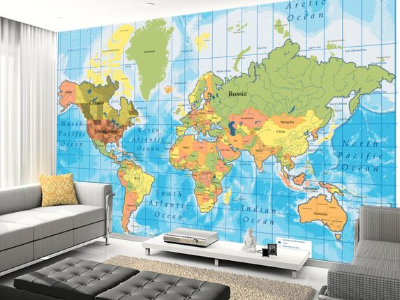 Lovely World Map Wall Mural Design Inspirations
