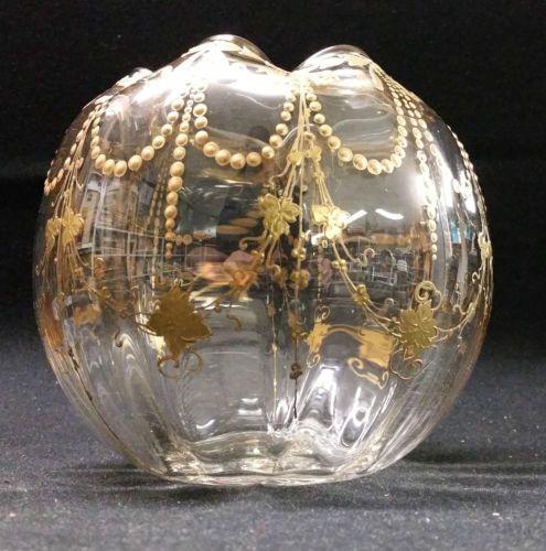 D tails sur ancien vase boule art nouveau cristal polylobe dore or 1900 montj - Vase ancien en verre ...