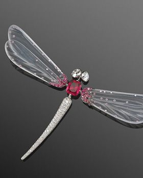 Red Spinel, White Jade and Diamond Dragonfly Brooch. From Frederick Leighton.