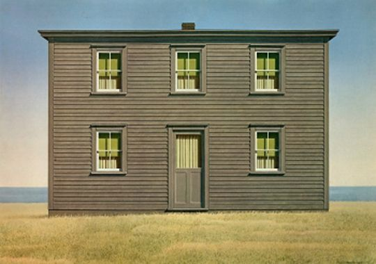 Christopher Pratt  House in August (1969)  Often imitated, never duplicated. The shadow cast by Pratt's long career as a visual artist is comparable to the looming presence of the Catholic church in Newfoundland. This is one in a series of paintings depicting out-port homes with blinds covering the windows; a none too subtle reference to death.