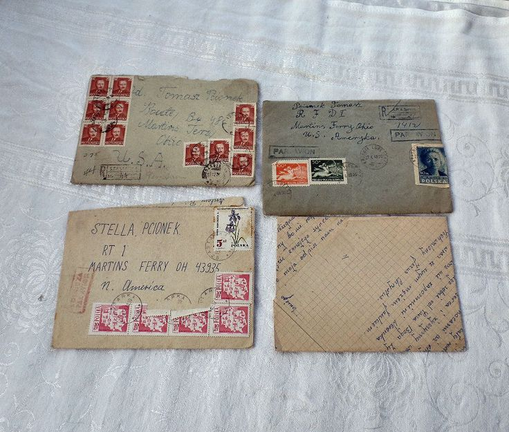 Vintage Letters, Vintage Stamps, Polish Letters, Registered Air Mail Stamps, Paper Ephemera, Correspondence Letters Writing, Penmanship by SierrasTreasure on Etsy
