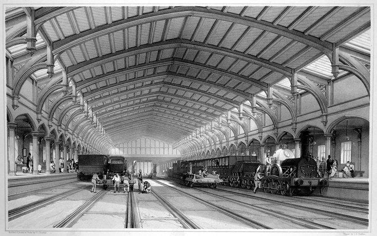 Engraving of interior of Brunel's train-shed from c1843, by John Cooke Bourne