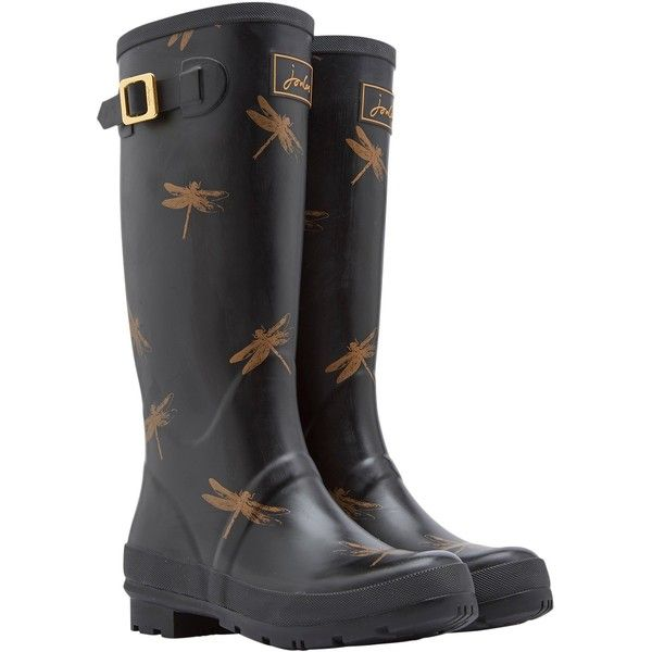 Joules Tall Dragonfly Rubber Wellington Boots, Black (€53) ❤ liked on Polyvore featuring shoes, boots, knee high rubber boots, tall black boots, rubber boots, black rubber boots and flat knee high boots