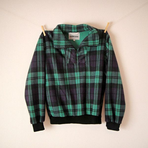 Vintage. 90's Grunge Fleece Jacket. Plaid Patterned Coat. Black Green... ($23) ❤ liked on Polyvore featuring men's fashion, men's clothing, hipster mens clothing, grunge mens clothing, mens clothing and vintage mens clothing