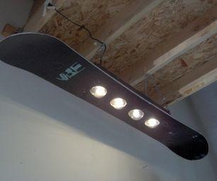 DIY snowboard light fixture