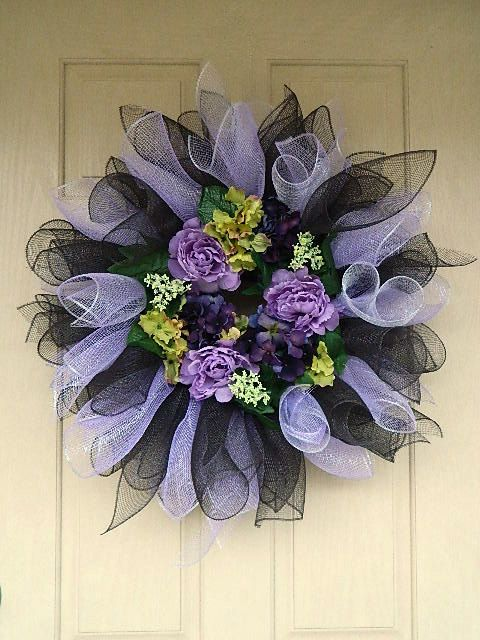 Spring Mesh Wreath with Lavender Purple and Chocolate by BellaFrog, $54.00