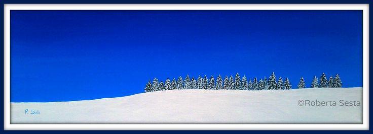 Alberi nella neve Acrilico su tela Roberta Sesta