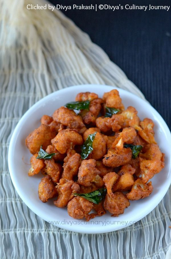 Cauliflower 65 / Gobi 65 - crispy fried cauliflower florets (Vegan Snack)