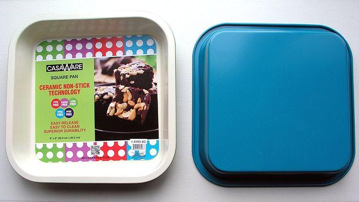 casaWare Ceramic Coated NonStick 8-Inch Square Pan (Cream/Blue)