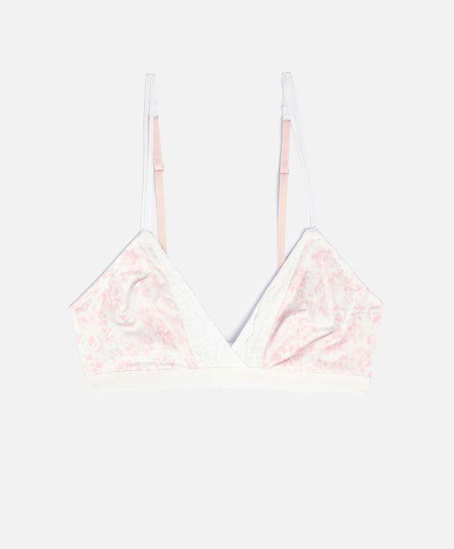 Reggiseno triangolare fiore rosa due tonalità - OYSHO