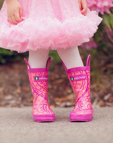 Children's Rubber Rain Boots, Henna Pink | Oakiwear - Rain Gear, Kids rain suits, kids waders, kids rain gear, and kids rain coats