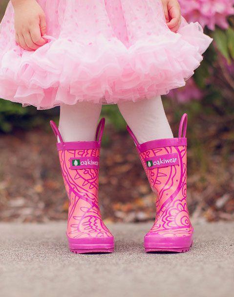 Children's Rubber Rain Boots, Henna Pink | Oakiwear - Rain Gear, Kids rain suits, kids waders, kids rain gear, and kids rain coats