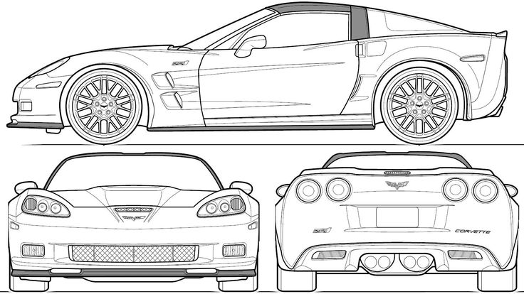automobile blueprints | Car Blueprints: Chevrolet Corvette C6 ZR1 Coupe