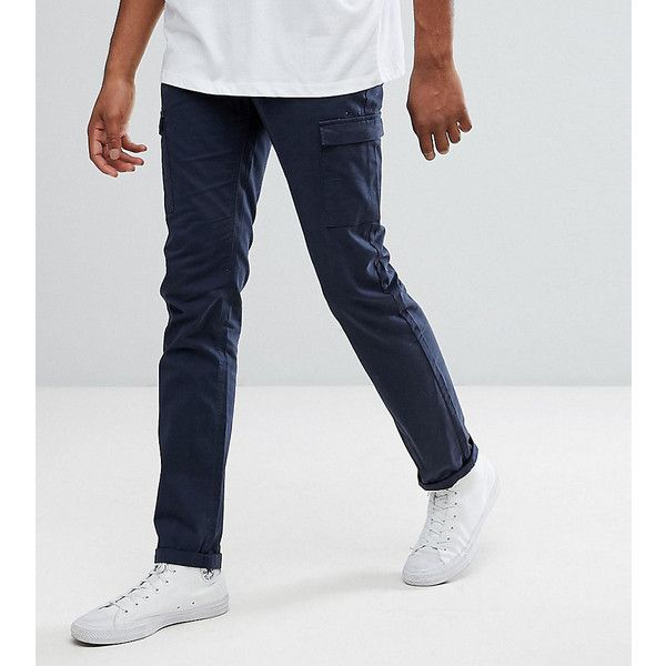 Bellfield TALL Straight Leg Cargo Pants ($57) ❤ liked on Polyvore featuring men's fashion, men's clothing, men's pants, men's casual pants, navy, tall mens cargo pants, mens navy blue pants, mens cargo pants, old navy mens pants and mens navy cargo pants