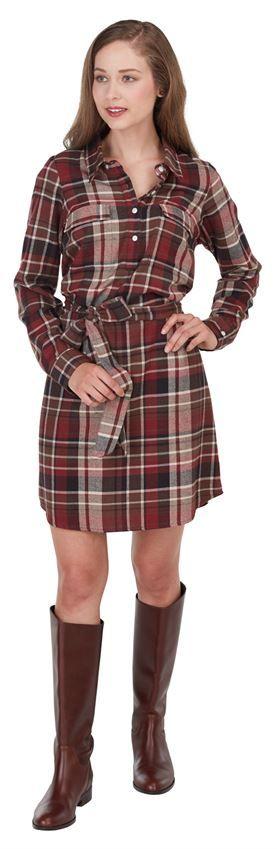Mud Pie|Bale Flannel Shirt Dress Burgundy