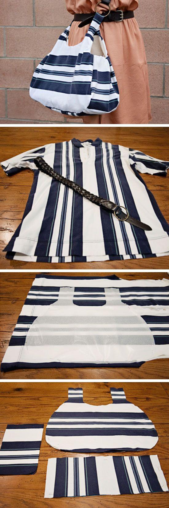 Up-cycle An Old Polo Shirt Into a Stylish New Bag | Click Pic for 22 DIY Christmas Gift Ideas for Mom | Handmade Christmas Gifts for Grandma