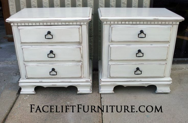 Matching Nightstands in distressed Antiqued White. From Facelift Furniture's Antique White Furniture collection.
