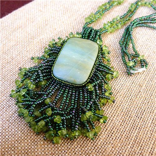 beaded cabochon necklace/ picture Amazonite от CindyCjewelry