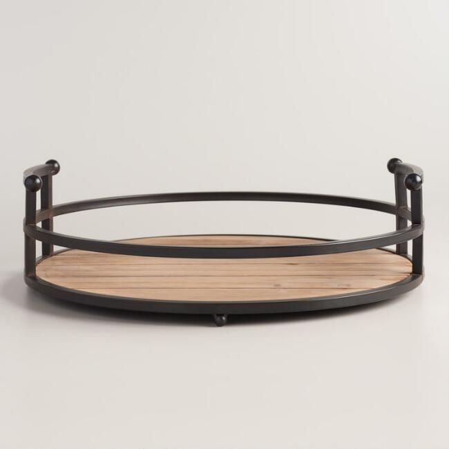 Wood and Antiqued Bronzed Round Serving Tray - World Market