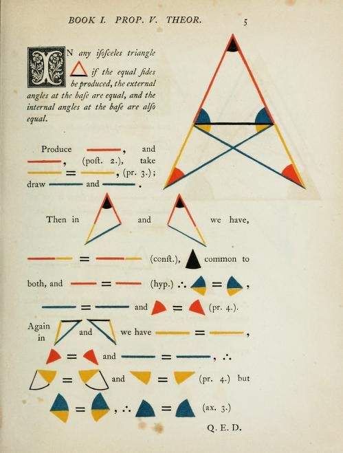 the first six books of elements of euclid in which coloured diagrams and symbols are used instead of letters for the greater base of learners ::: by oliver byrne · surveyor of her majesty's settlements in the falkland islands and author of numerous mathematical works ::: 1847