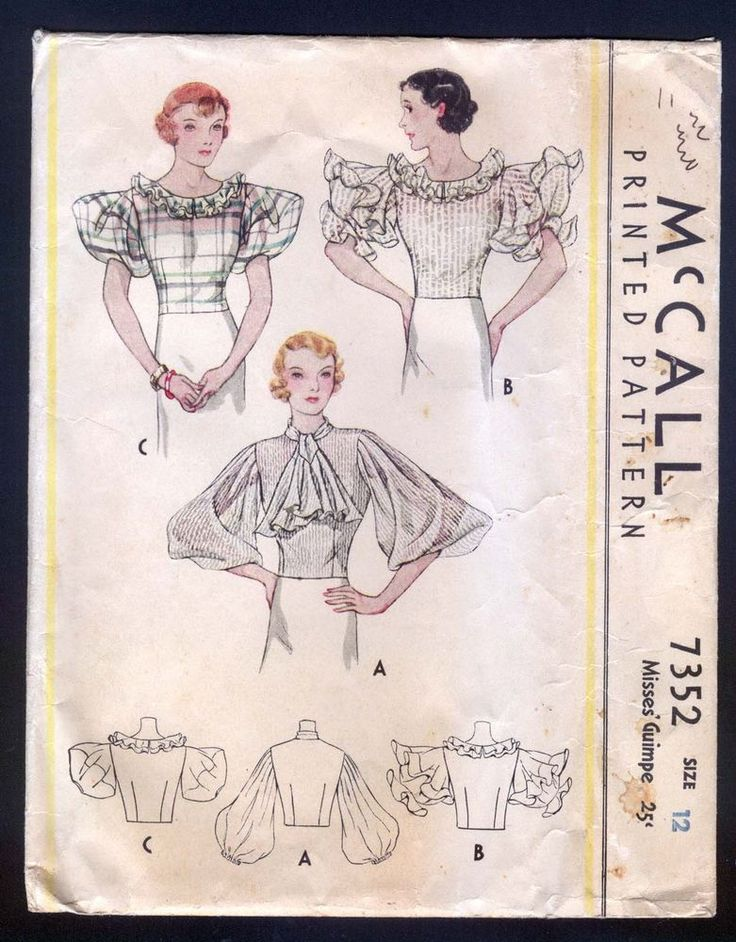 1933 McCall Pattern - Ladies' Art Deco Blouse WIth Amazing Sleeves